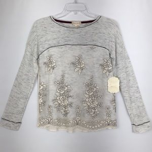 Altar'd State Floral Embroidered Boho Knit Top